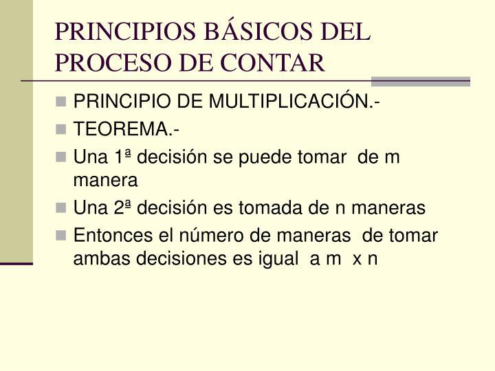 PRINCIPIOS BÁSICOS DEL PROCESO DE CONTAR