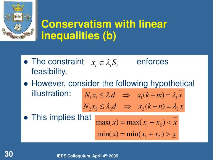 Conservatism with linear inequalities (b)
