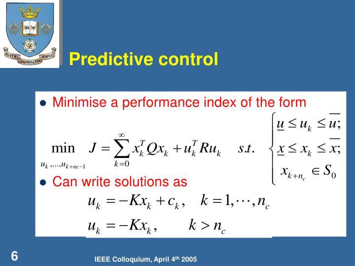 Predictive control