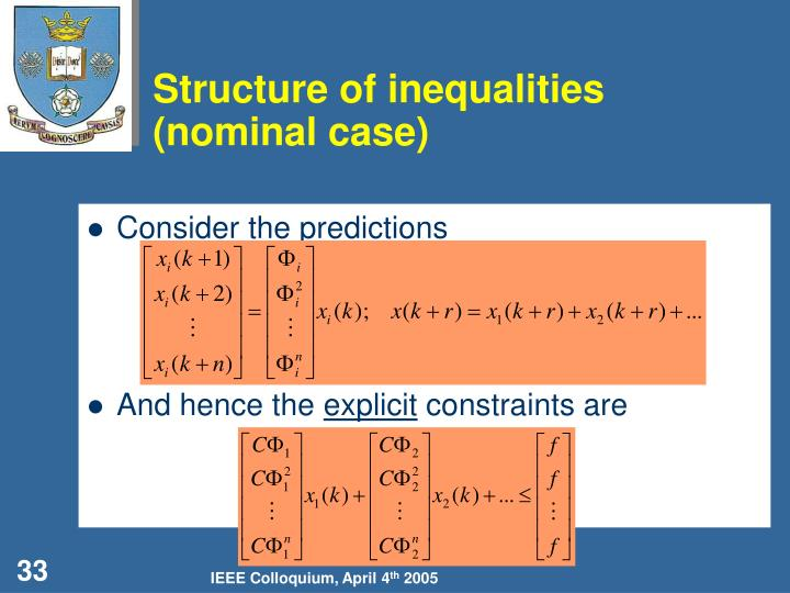 Structure of inequalities (nominal case)