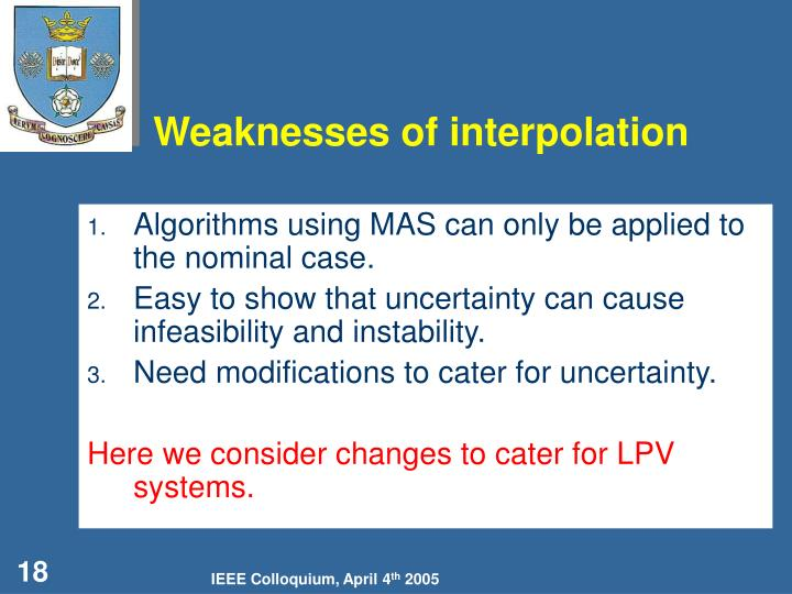 Weaknesses of interpolation