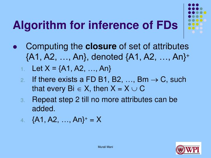 Algorithm for inference of FDs