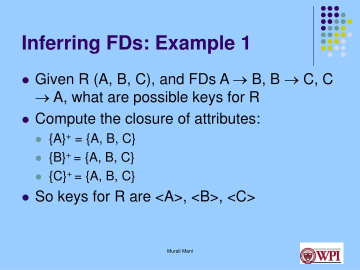 Inferring FDs: Example 1