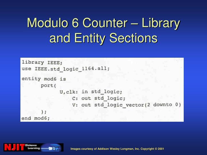 Modulo 6 Counter – Library and Entity Sections