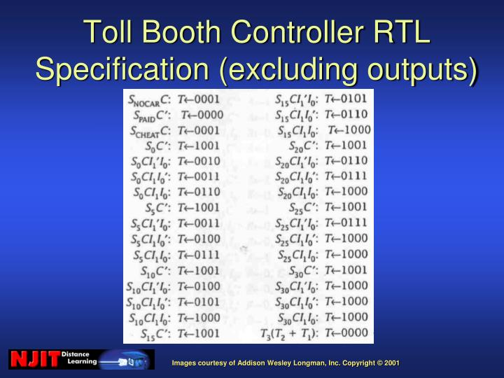 Toll Booth Controller RTL Specification (excluding outputs)