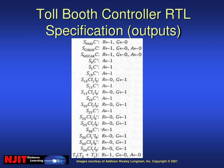 Toll Booth Controller RTL Specification (outputs)