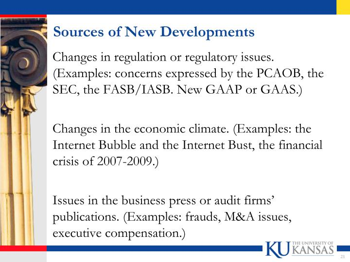 Sources of New Developments