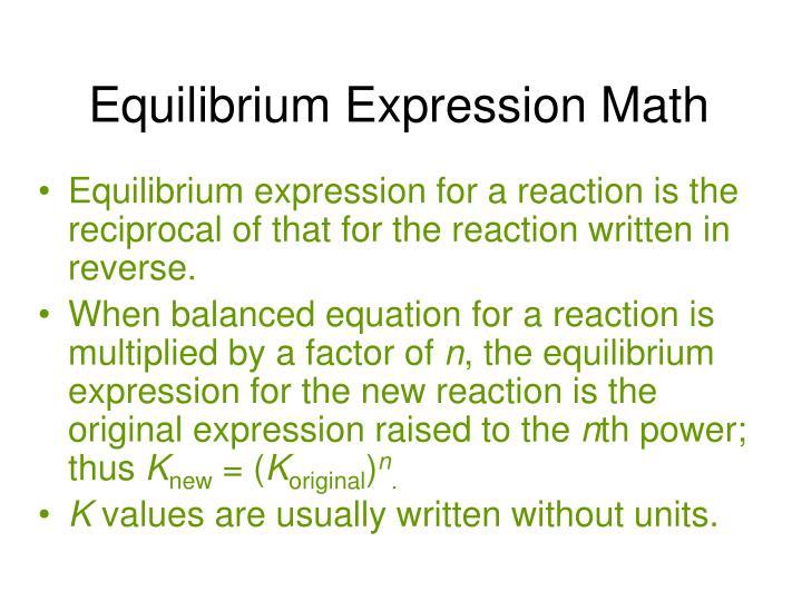 Equilibrium Expression Math