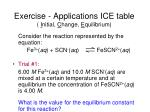 exercise applications ice table i nitial c hange e quilibrium