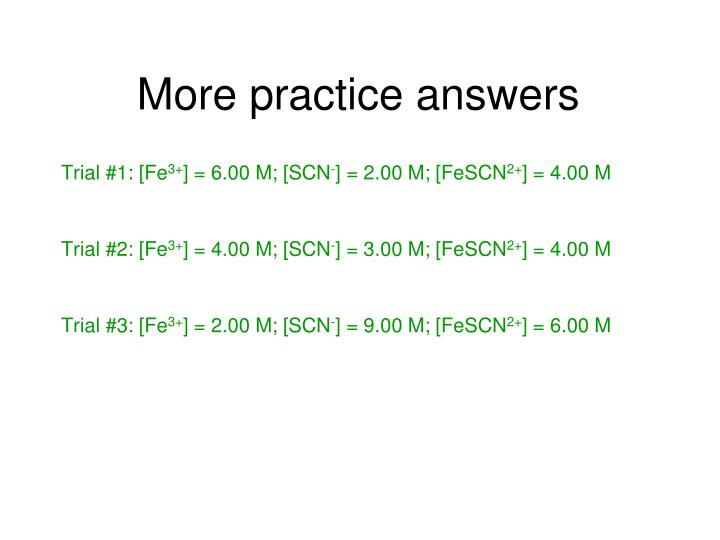 More practice answers