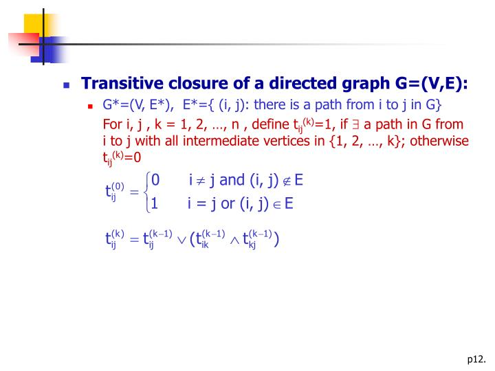 Transitive closure of a directed graph G=(V,E):