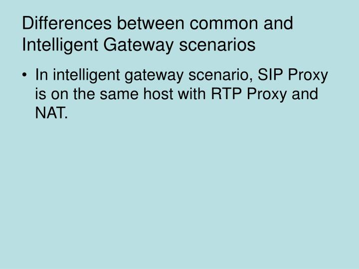 Differences between common and Intelligent Gateway scenarios