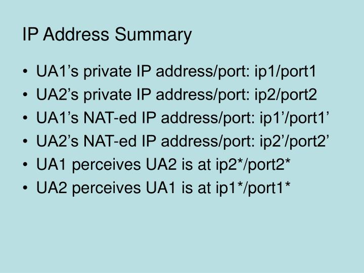 IP Address Summary