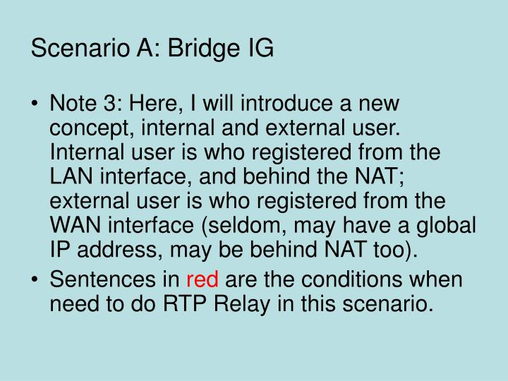 Scenario A: Bridge IG