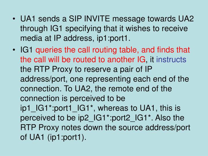 UA1 sends a SIP INVITE message towards UA2 through IG1 specifying that it wishes to receive media at IP address, ip1:port1.