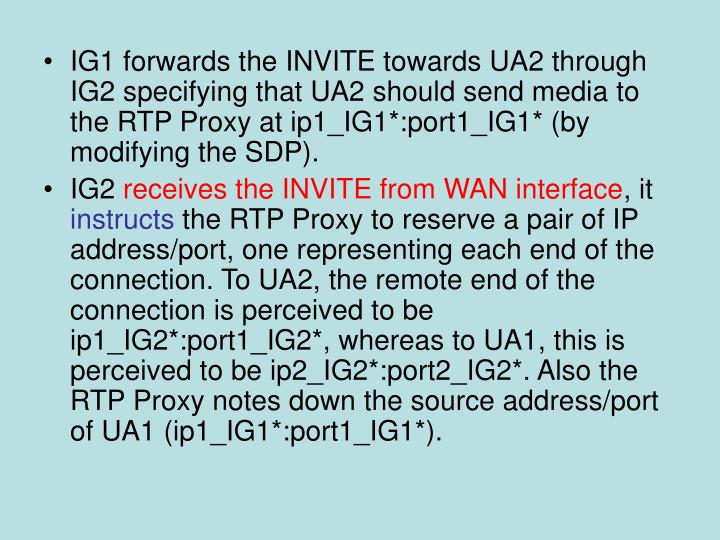 IG1 forwards the INVITE towards UA2 through IG2 specifying that UA2 should send media to the RTP Proxy at ip1_IG1*:port1_IG1* (by modifying the SDP).
