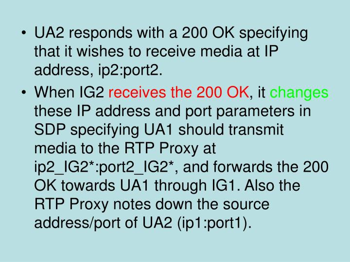 UA2 responds with a 200 OK specifying that it wishes to receive media at IP address, ip2:port2.
