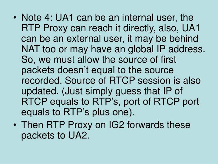 Note 4: UA1 can be an internal user, the RTP Proxy can reach it directly, also, UA1 can be an external user, it may be behind NAT too or may have an global IP address. So, we must allow the source of first packets doesn't equal to the source recorded. Source of RTCP session is also updated. (Just simply guess that IP of RTCP equals to RTP's, port of RTCP port equals to RTP's plus one).