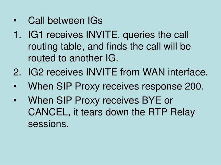 Call between IGs
