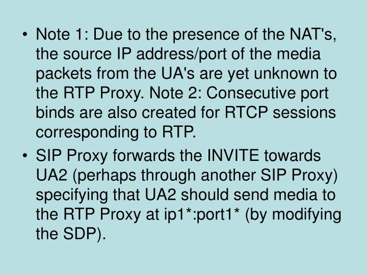 Note 1: Due to the presence of the NAT's, the source IP address/port of the media packets from the UA's are yet unknown to the RTP Proxy. Note 2: Consecutive port binds are also created for RTCP sessions corresponding to RTP.