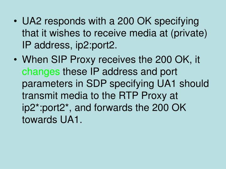 UA2 responds with a 200 OK specifying that it wishes to receive media at (private) IP address, ip2:port2.
