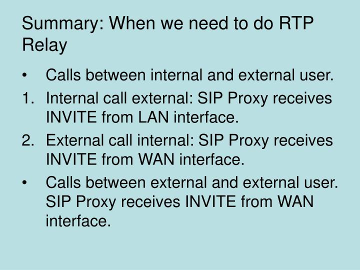 Summary: When we need to do RTP Relay