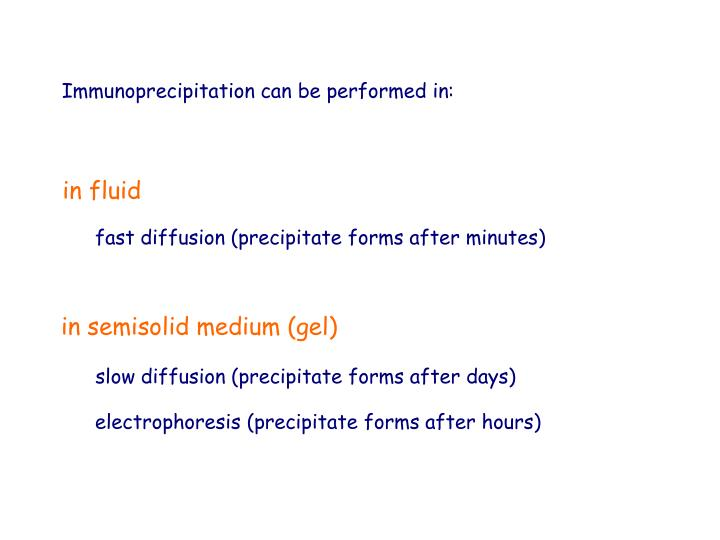 Immunoprecipitation can be performed in