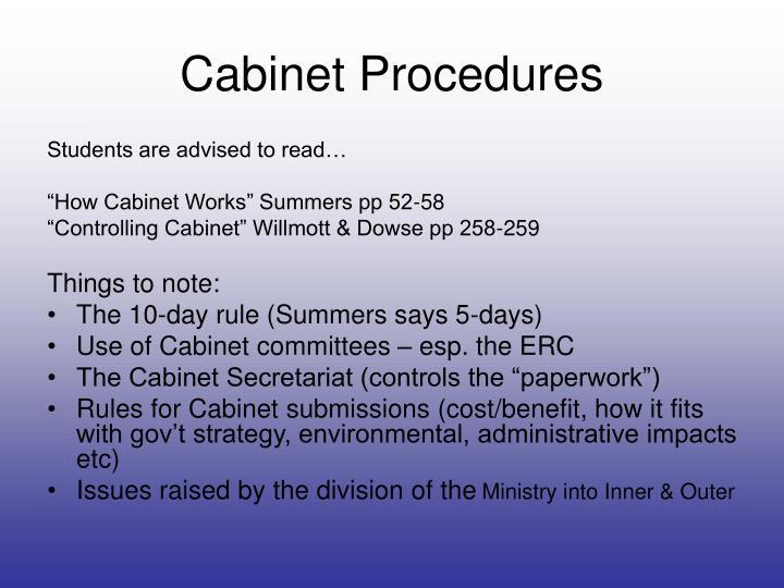 Cabinet Procedures