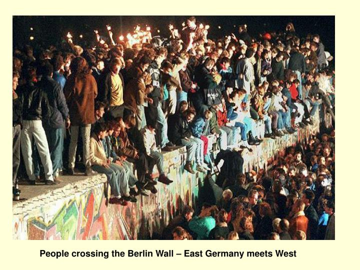 People crossing the Berlin Wall – East Germany meets West