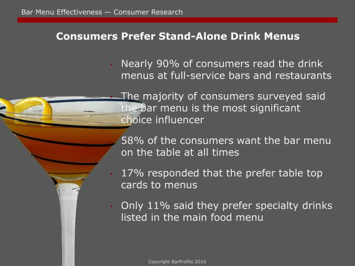 Consumers Prefer Stand-Alone Drink Menus