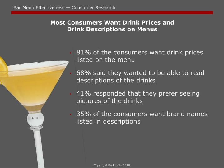 Most Consumers Want Drink Prices and