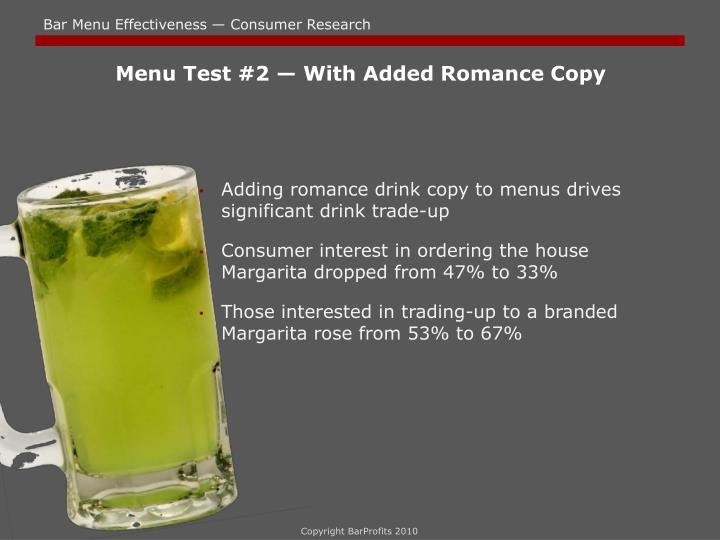 Menu Test #2 — With Added Romance Copy
