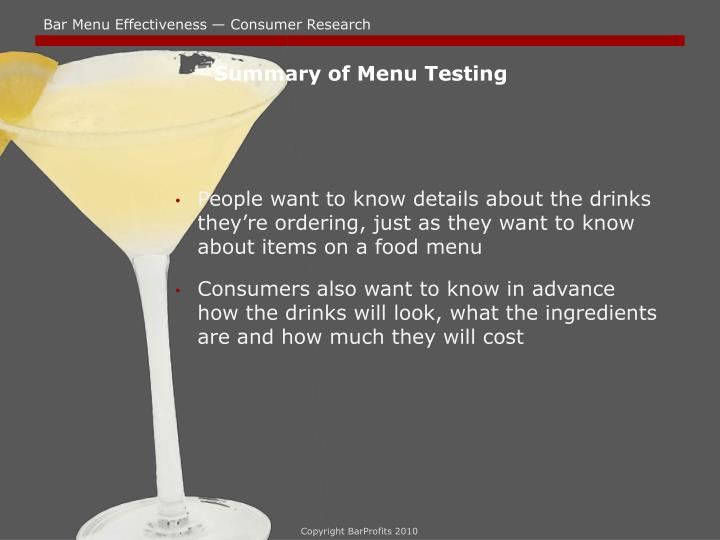 Summary of Menu Testing
