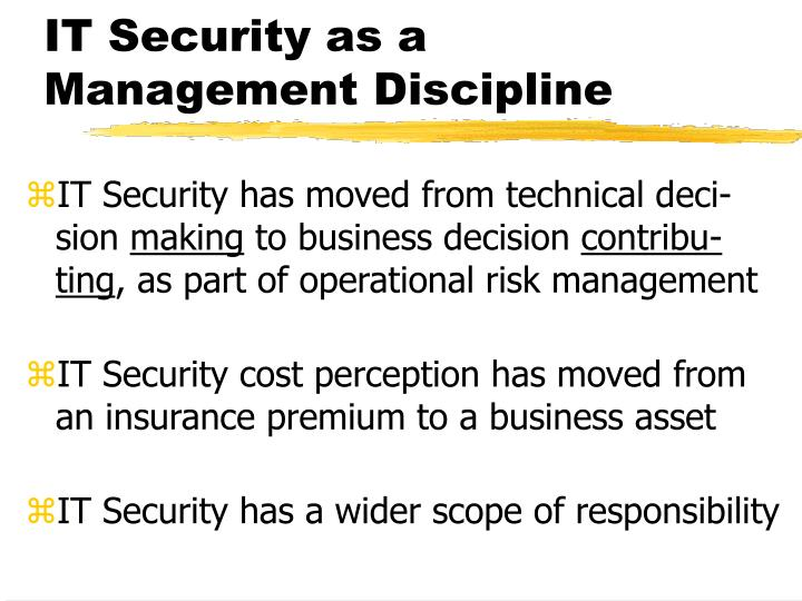 IT Security as a Management Discipline