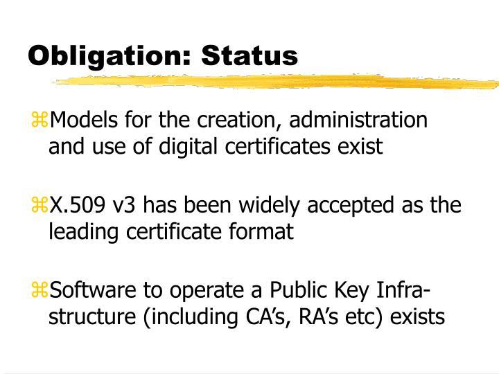 Obligation: Status