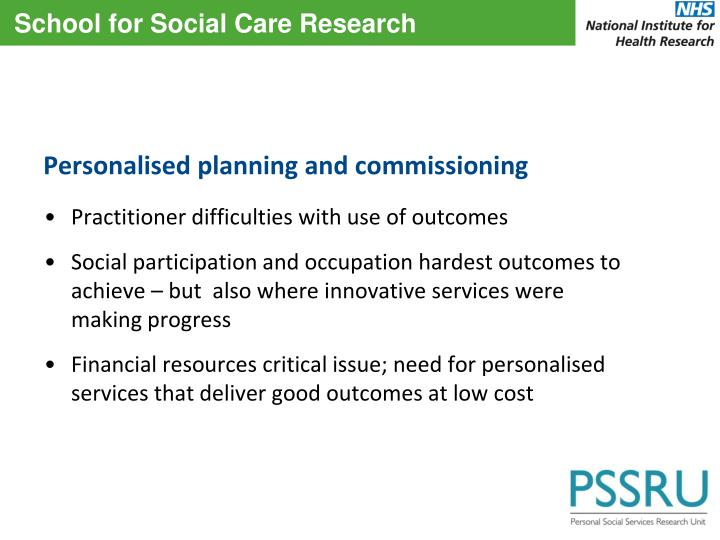 Personalised planning and commissioning