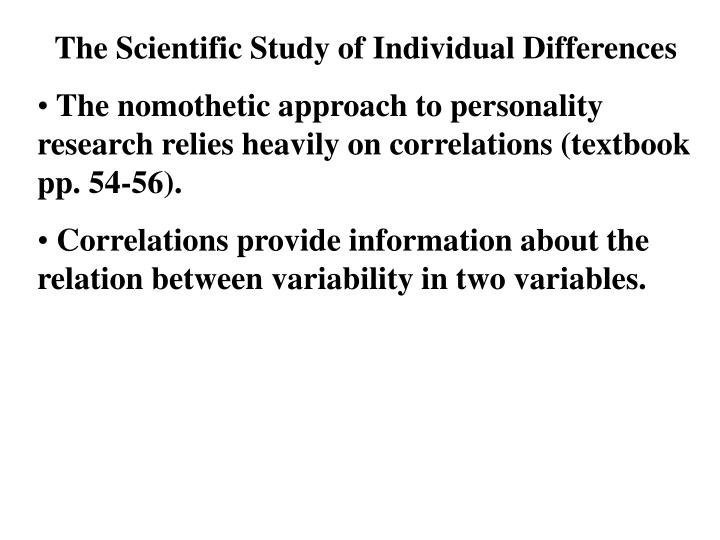 The Scientific Study of Individual Differences