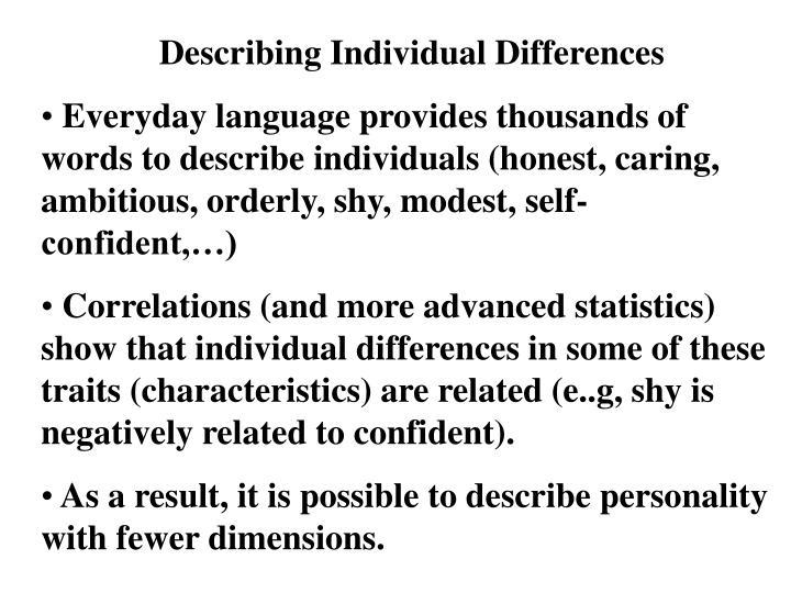 Describing Individual Differences