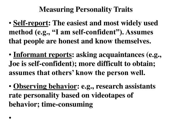 Measuring Personality Traits