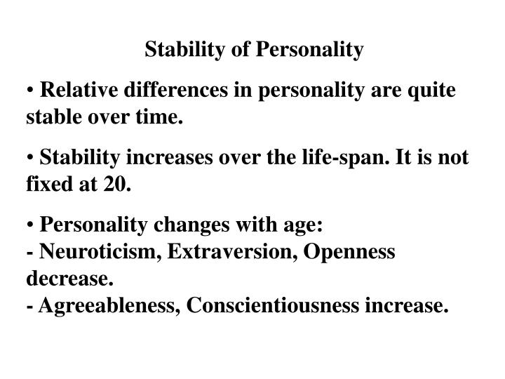Stability of Personality