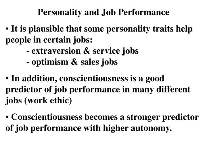 Personality and Job Performance