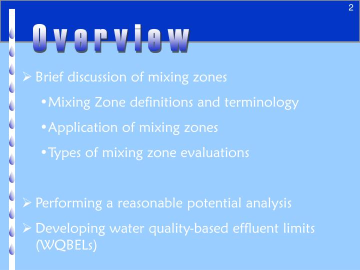 Mixing zones reasonable potential analysis and permit limits