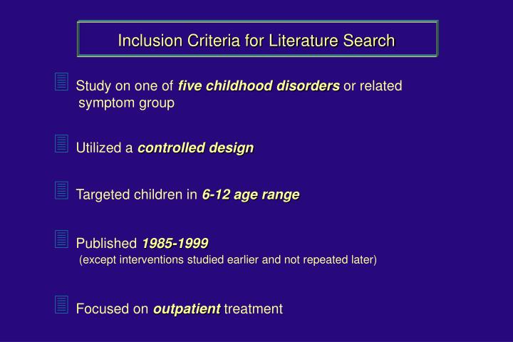 Inclusion Criteria for Literature Search