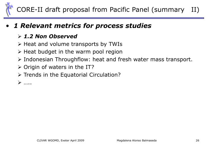 CORE-II draft proposal from Pacific Panel (summary   II)