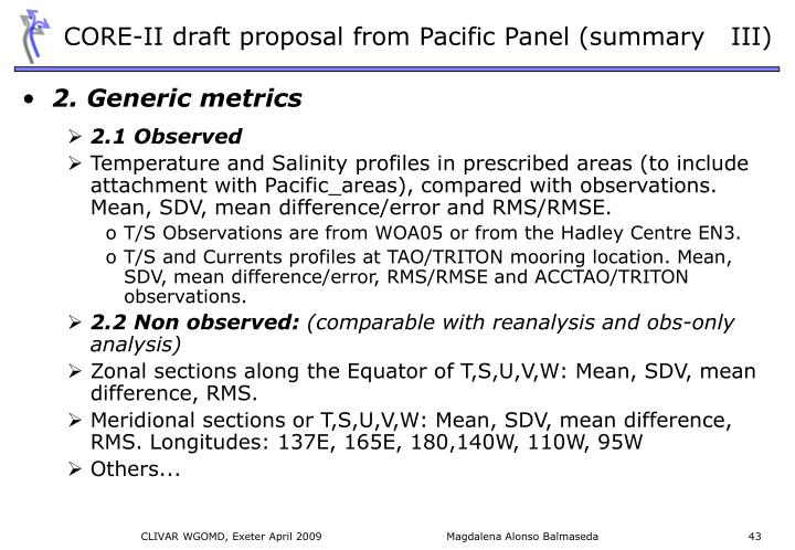 CORE-II draft proposal from Pacific Panel (summary   III)
