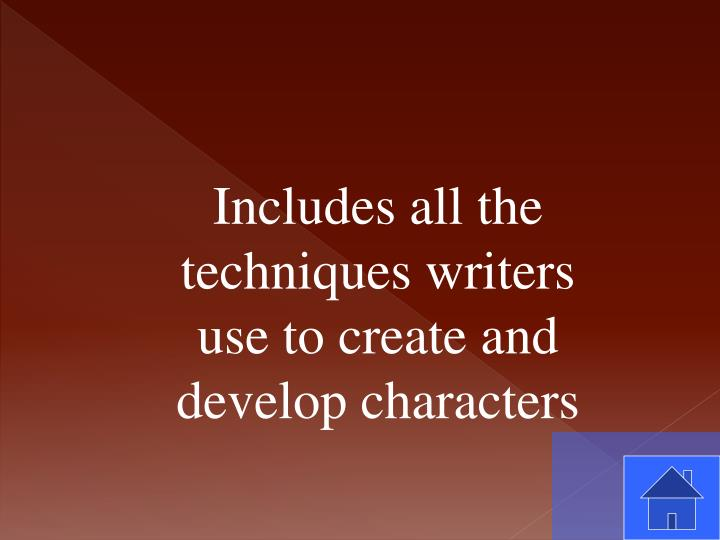 Includes all the techniques writers use to create and develop characters