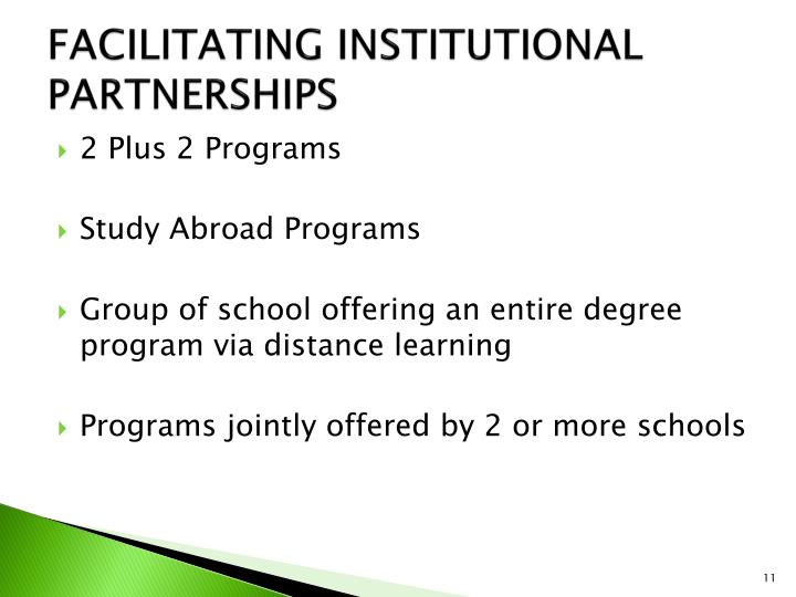 FACILITATING INSTITUTIONAL PARTNERSHIPS