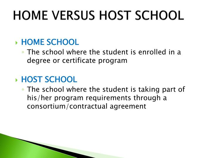 Home versus host school