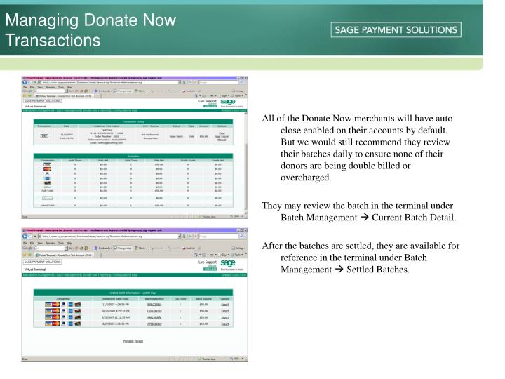 Managing Donate Now Transactions