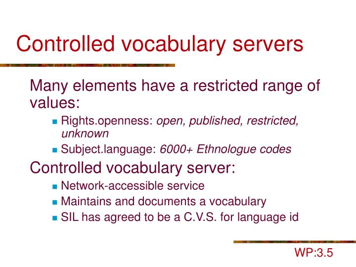 Controlled vocabulary servers